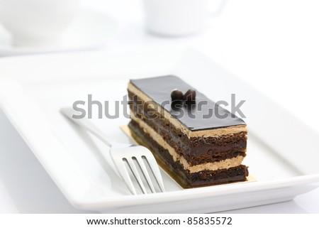 Chocolate Cake isolated in white background - stock photo