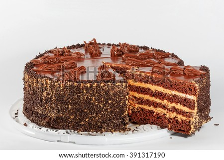 chocolate cake, isolated on a white background - stock photo
