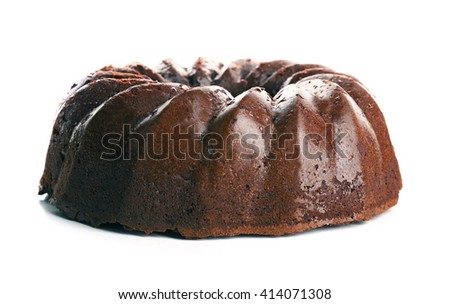 Chocolate cake isolated on white background