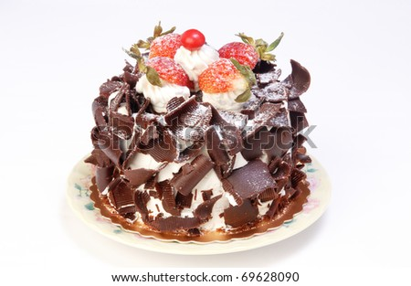 Chocolate cake isolated on white background - stock photo