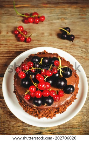 chocolate cake mini with red and black currants on a dark wood background. toning. selective focus on the top red currant on the cake - stock photo