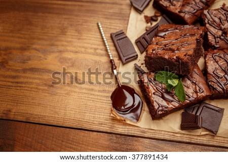 chocolate cake on a baking sheet - stock photo