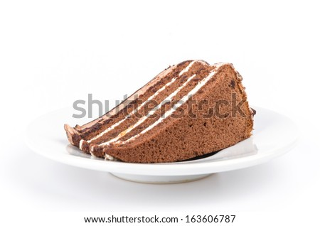 Chocolate cake on isolated white background