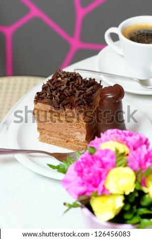 Chocolate cake on the table.
