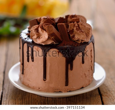 chocolate cake on wooden background - stock photo