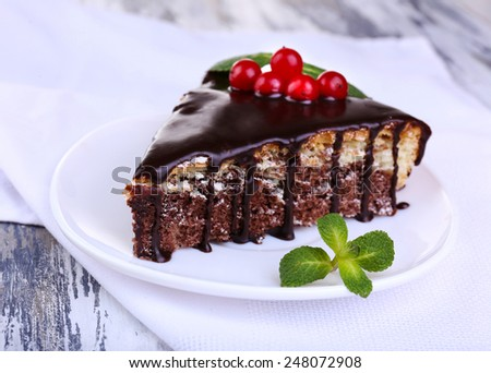 Chocolate cake on wooden table
