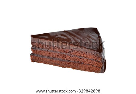 Chocolate cake slic on white background.