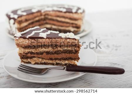Chocolate Cake Slice - stock photo