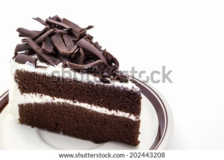 Chocolate cake slice on white background.  - stock photo