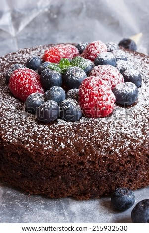 Chocolate cake topped with berries and powdered sugar selective focus - stock photo
