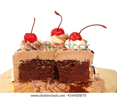 Chocolate cake whit Cherry on top isolated on white background - stock photo