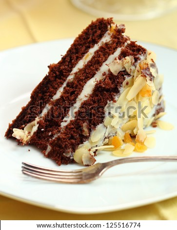 Chocolate Cake with Almonds and Candied Orange Peel - stock photo