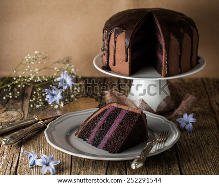 chocolate cake with blueberry cream and dark cocoa icing