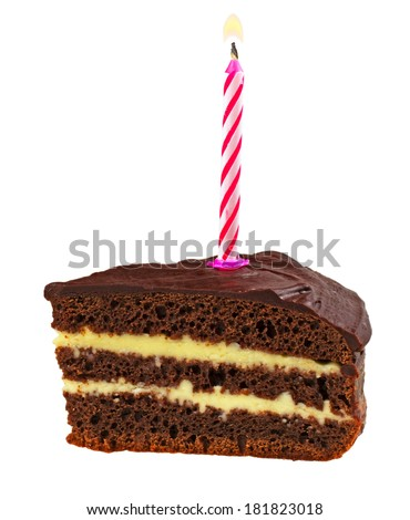 chocolate cake with burning candles isolated on white background