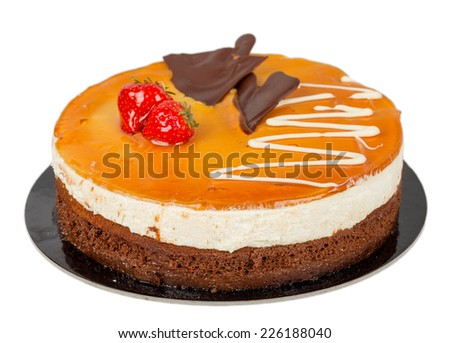Chocolate cake with caramel on top isolated - stock photo
