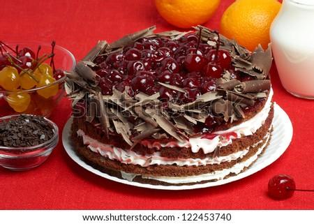 chocolate cake with cherry - stock photo