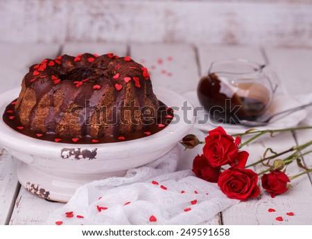 Chocolate cake with chocolate glaze  - stock photo