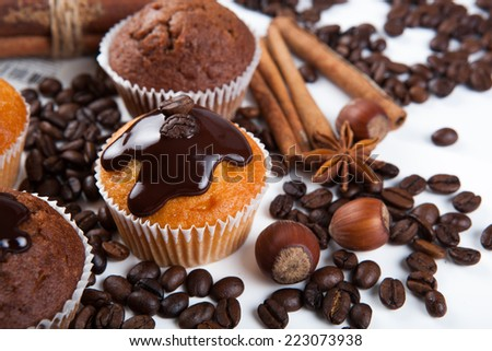 chocolate cake with coffee beans close up