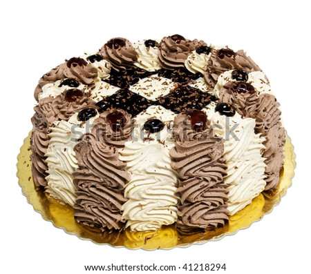 Chocolate cake with cream - stock photo
