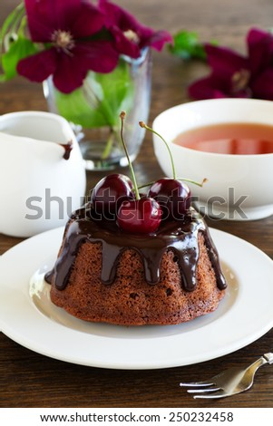 Chocolate cake with icing and a cherry. - stock photo