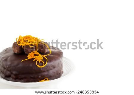chocolate cake with orange marmalade,copy space - stock photo