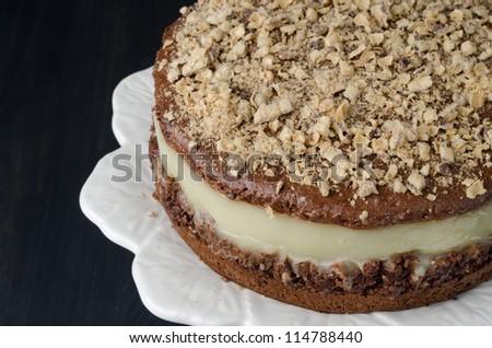 chocolate cake with pear puree closeup - stock photo