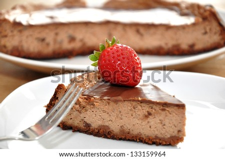 Chocolate Cake with strawberry - stock photo