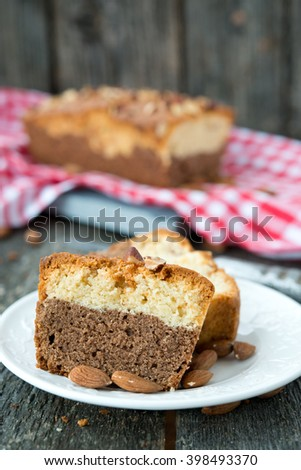 Chocolate cake with vanilla and nuts