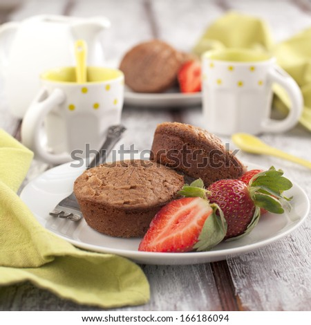 Chocolate cakes and strawberry