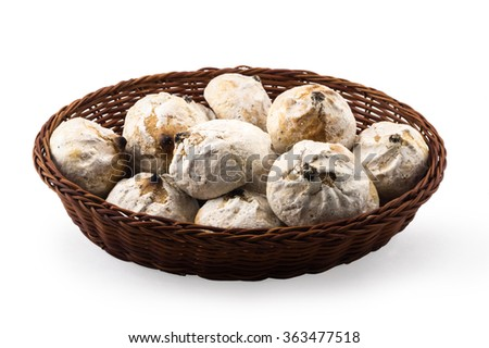 chocolate cakes in basket isolated on white. - stock photo