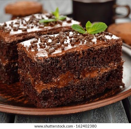 chocolate cakes on a brown plate - stock photo