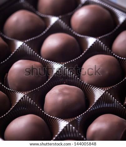 chocolate candies closeup - stock photo