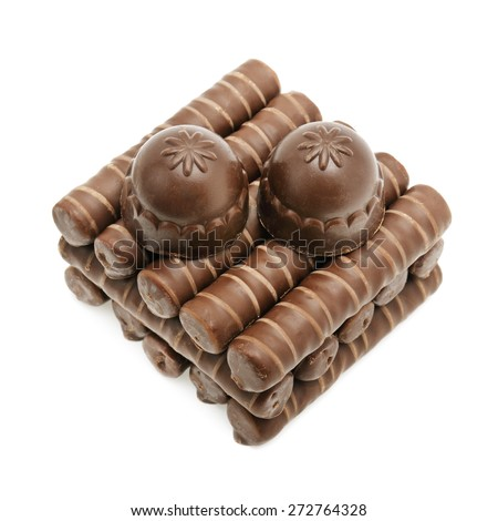 Chocolate candies isolated on white - stock photo