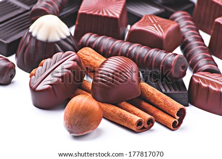 Chocolate candies on a white background  - stock photo
