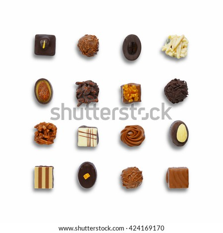 Chocolate candies set. Top view of chocolate candies isolated on white background. Chocolate sweets collection - stock photo
