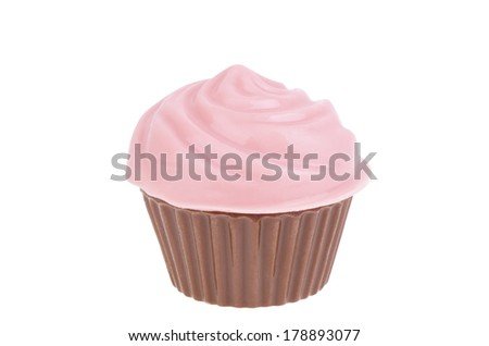 Chocolate candy cupcake isolated on white background.
