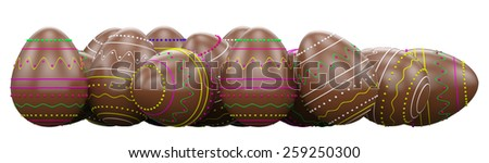 Chocolate candy easter eggs . Isolated on white background - stock photo