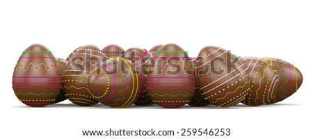 Chocolate candy easter eggs . Isolated on white background