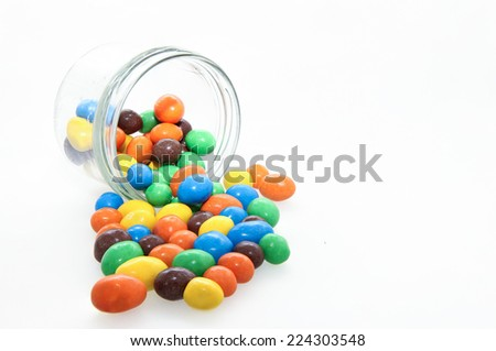 Chocolate candy in a glass jar