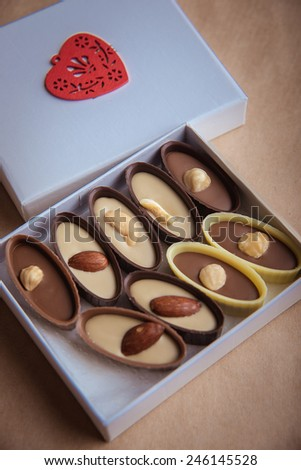 chocolate candy in  festive box - stock photo