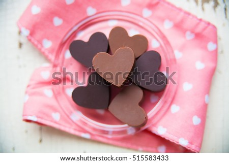 Chocolate Candy Shape Heart On Plate Stock Photo 515583433 ...