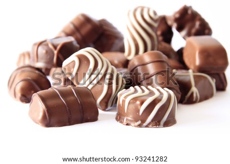 chocolate candy isolated on white - stock photo