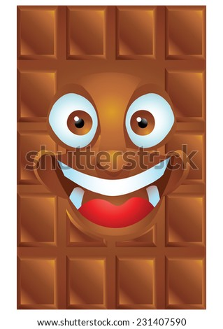 Chocolate cartoon character laughing isolated - stock photo