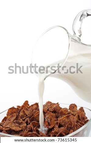 Chocolate cereal with milk - stock photo