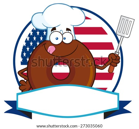 Chocolate Chef Donut Cartoon Character Over A Circle Blank Label In Front Of Flag Of USA. Raster Illustration Isolated On White - stock photo