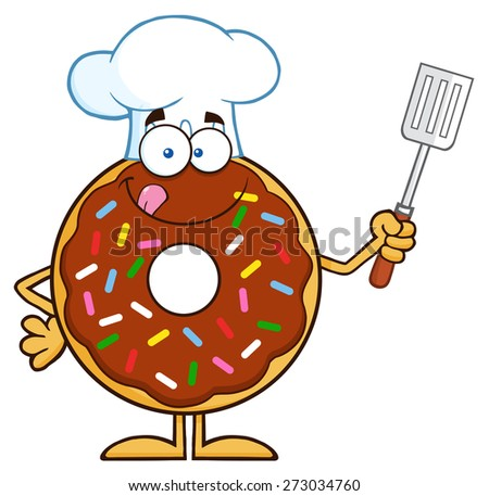Chocolate Chef Donut Cartoon Character With Sprinkles Holding A Slotted Spatula. Raster Illustration Isolated On White - stock photo