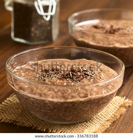 Chocolate chia seed pudding in glass bowl with chia seeds and chocolate shavings on top, photographed with natural light (Selective Focus, Focus in the middle of the chia pudding)