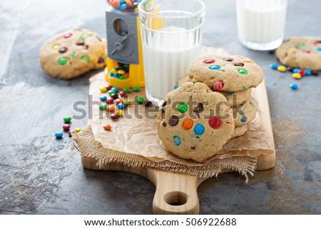 Chocolate chip and candy cookies with milk