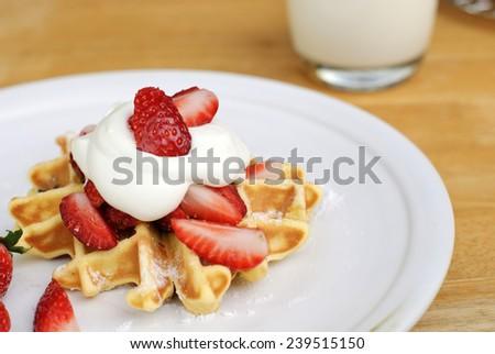 chocolate chip belgian waffles. - stock photo