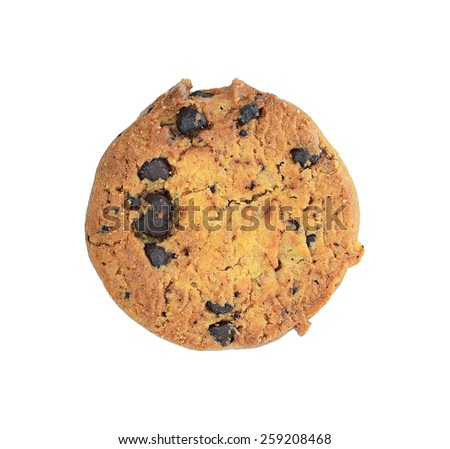 Chocolate chip cookie on white background.